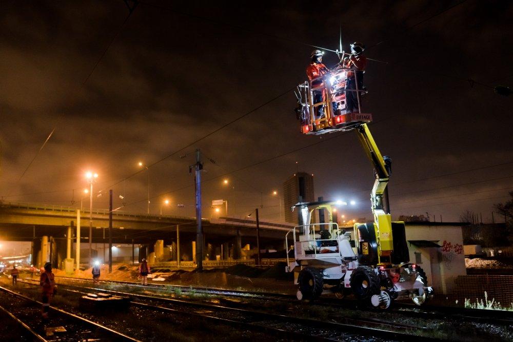 CDG Express - Raccordement des caténaires de nuit