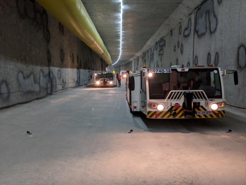 Epreuve de résistance du radier dans le tunnel de CDG - Septembre 2020